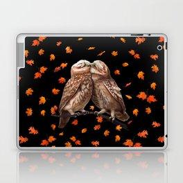 Autumn owls on black Laptop & iPad Skin