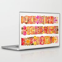 tiki Laptop & iPad Skins featuring Tiki Totems – Fiery Palette by Cat Coquillette