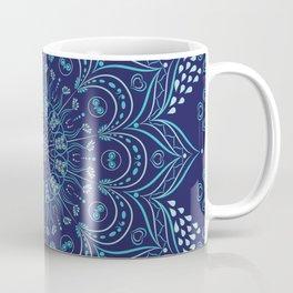 Navy blue and teal mandala pattern Coffee Mug