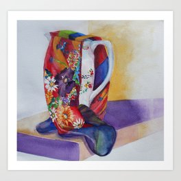 Jug with a scarf Art Print