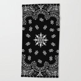black and white bandana pattern Beach Towel