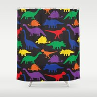 dinosaurs Shower Curtains featuring Dinosaurs - Black by Dizana Designs