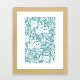 just owls teal blue Framed Art Print