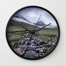 Foggy Mountains in Scotland Wall Clock