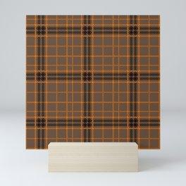 Scottish Brown Orange Black Gingham Plaid Mini Art Print