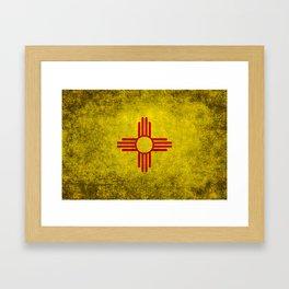 Flag of New Mexico - vintage retro style Framed Art Print