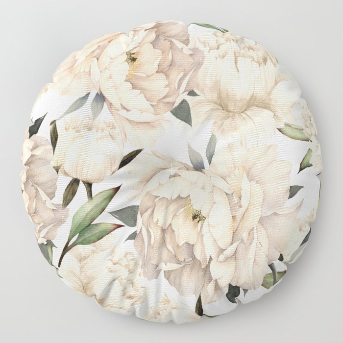 Peonies Pattern Floor Pillow