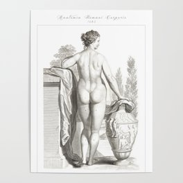 Human Anatomy Art Print WOMEN BODY BACK Vintage Anatomy, doctor medical art, Antique Book Plate, Med Poster