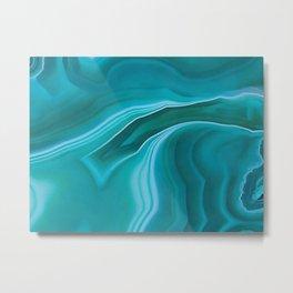 Agate sea green texture Metal Print
