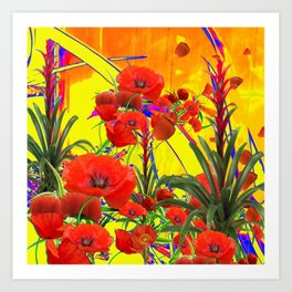 MODERN TROPICAL FLOWERS GARDEN DESIGN IN YELLOW-ORANGE COLORS Art Print