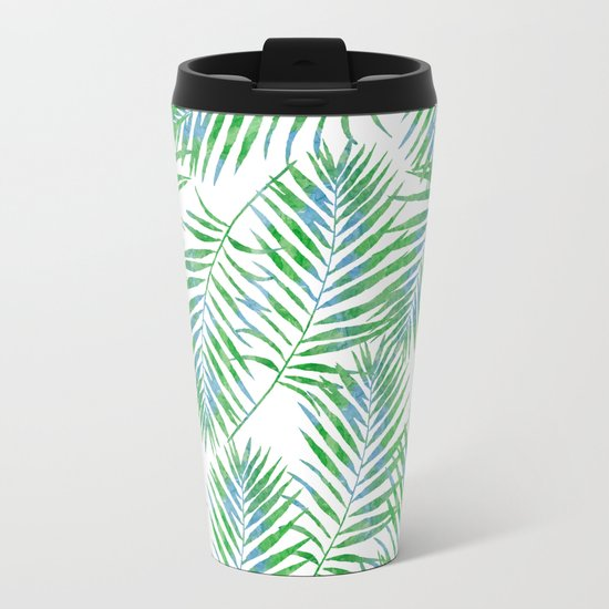 Fern Leaves Metal Travel Mug
