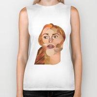 lindsay lohan Biker Tanks featuring Lindsay Lohan  by Rebecca Singer Illustration