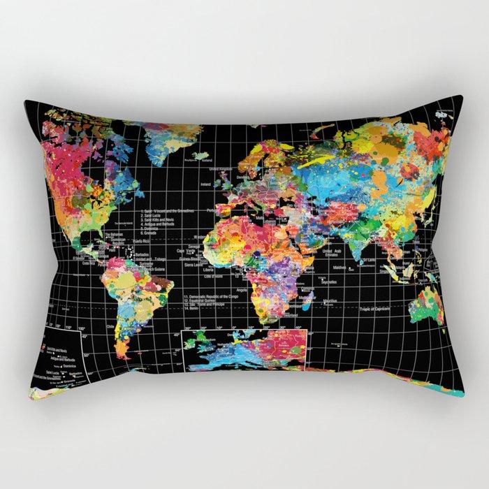 World Map Black - 1 Rectangular Pillow
