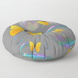 IRIDESCENT BUBBLES & YELLOW BUTTERFLIES GREY ART Floor Pillow