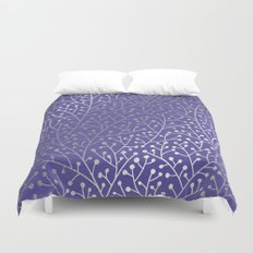 Periwinkle Berry Branches Duvet Cover