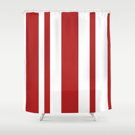 Mixed Vertical Stripes - White and Firebrick Red Shower Curtain