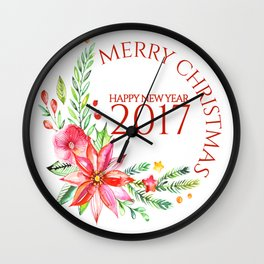 Merry Christmas 2017 Colorful Flowers Christmas Bouquet Wall Clock