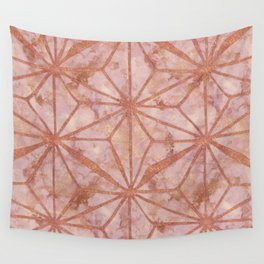 North Star Rose Gold Metal Marble Abstract Wall Tapestry