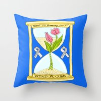 the cure Throw Pillows featuring Parkinson's Find a Cure by J&C Creations