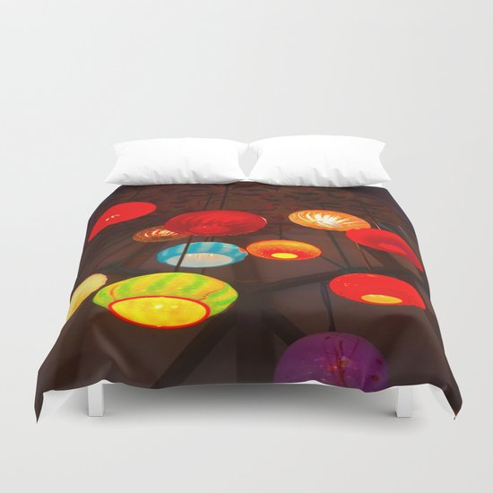Lights at Mama's Fish House, Maui Duvet Cover