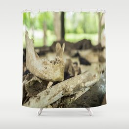 Skeletal Remains, Killing Fields, Cambodia Shower Curtain