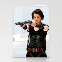 resident evil Stationery Cards featuring Milla Jovovich @ Resident Evil by Gabriel T Toro