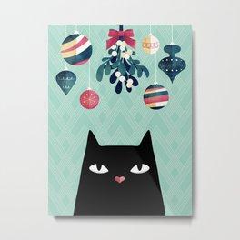 Mistletoe? (Black Cat) Metal Print
