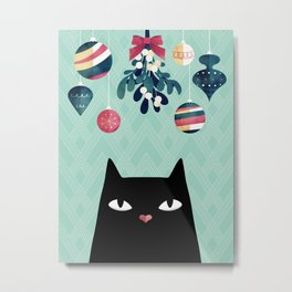 Mistletoe? (Black Cat) Metal Print