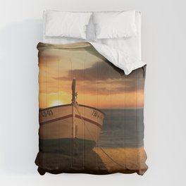 The boat in the sunset Comforters