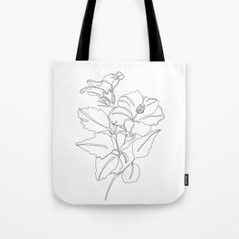Floral one line drawing - Hibiscus Tote Bag