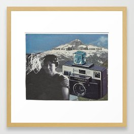 camera mountain collage Framed Art Print