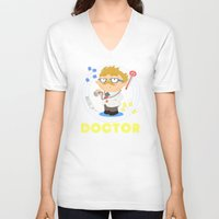 doctor V-neck T-shirts featuring Doctor by Alapapaju