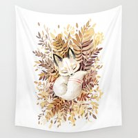 fox Wall Tapestries featuring Slumber by Freeminds