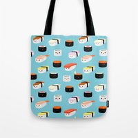 sushi Tote Bags featuring Sushi! by Sara Showalter