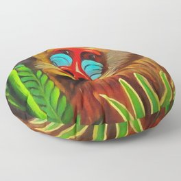 Henri Rousseau Mandrill In The Jungle Floor Pillow