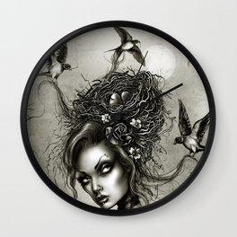 Birds Nest Hair Wall Clock