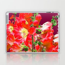 Burgundy  Red Orange Holly Hocks Pattern  Color Floral Art Laptop & iPad Skin