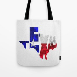 Texas Typographic Flag Map Art Tote Bag