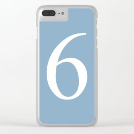 number six sign on placid blue color background Clear iPhone Case