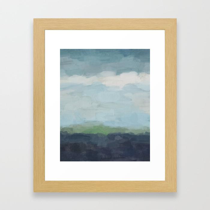 Navy teal aqua sky blue green abstract wall art painting art nature horizon modern wall framed art print
