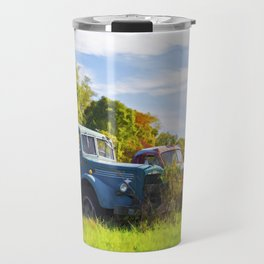 Antique Trucks in Autumn Travel Mug