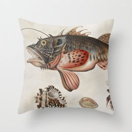 Vintage Fish and Crab Illustration by Maria Sibylla Merian, 1717 Throw Pillow
