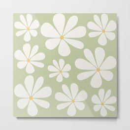 Floral Daisy Pattern - Green Metal Print