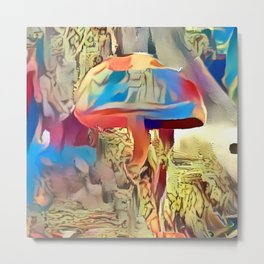 Colorful Shroom World Metal Print