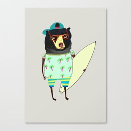 Surfer Bear. surfing art, surf decor, cool, Canvas Print