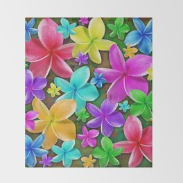 Plumerias Flowers Dream Throw Blanket