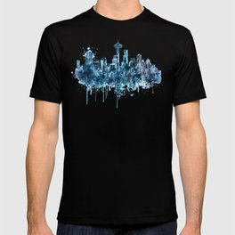 Seattle Skyline monochrome watercolor T-shirt