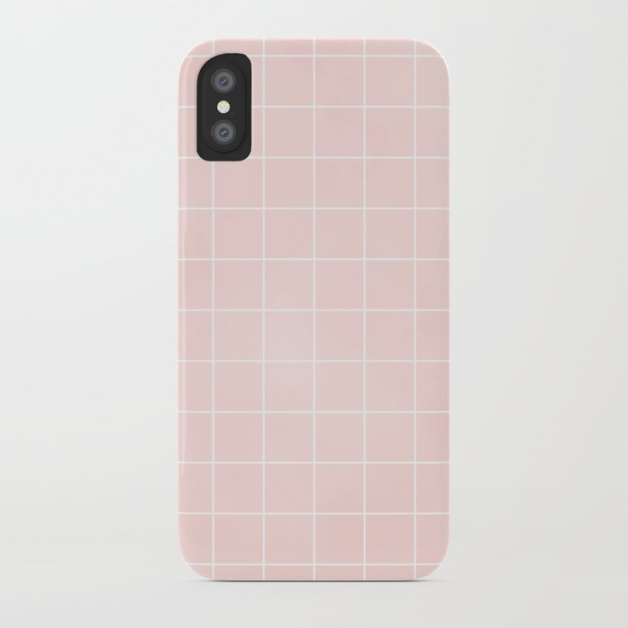 Pink Coral Grid iPhone Case