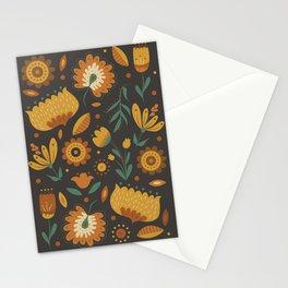 Autumn Folk Art Florals Stationery Cards