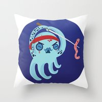samurai Throw Pillows featuring samurai by Maria Jose Da Luz